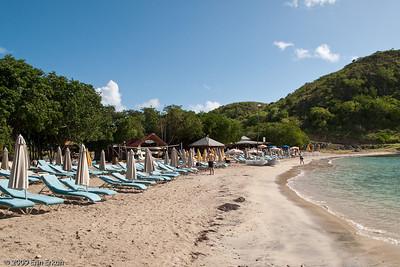 St Kitts - Cockleshell Bay A look down Reggae Beach.