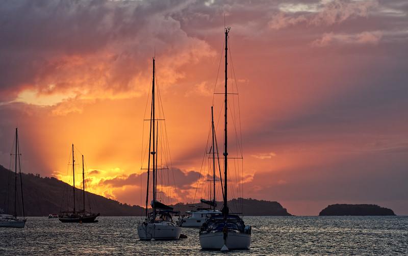 Sunset, Terre-de-Haut, Illes Des Saintes, Guadeloupe