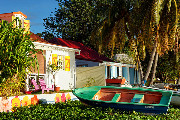 Colourful boats and homes, Terre-de-Haut, Illes Des Saintes, Guadeloupe