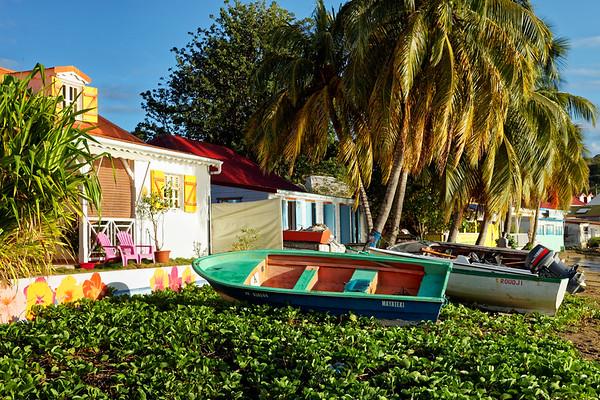 Colourful boats and homes, Terre-de-Haut, Illes Des Saintes, Guadeloupe