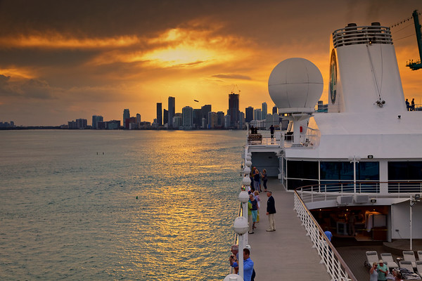 Azamara Quest leaves Miami at sunset