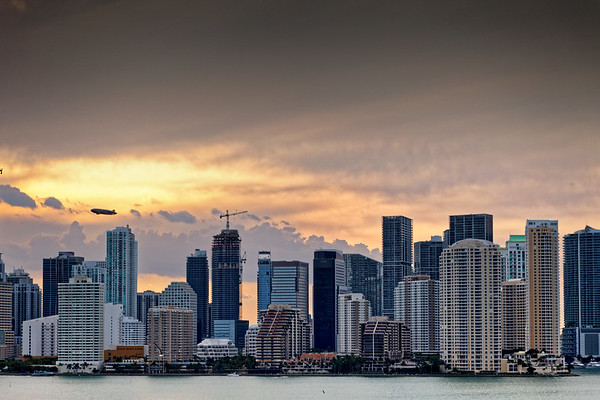 Miami CBD with hot air balloon.