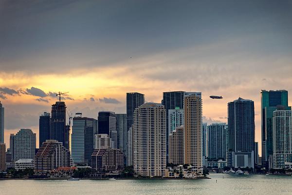 Miami CBD with hot air balloon.