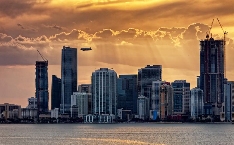 Miami CBD at sunset