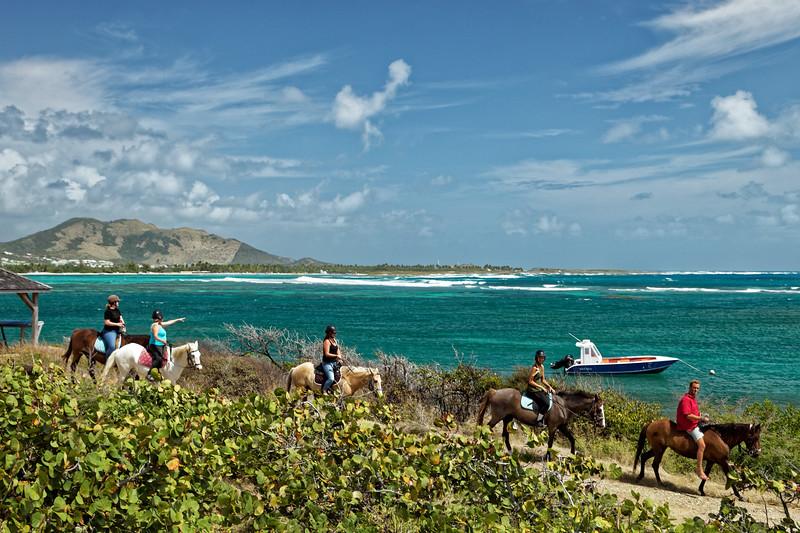 Horseriders at Etang aux poissons, Saint Martin