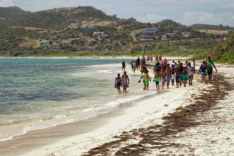 School group at Baie de L'embouchure/galion beach