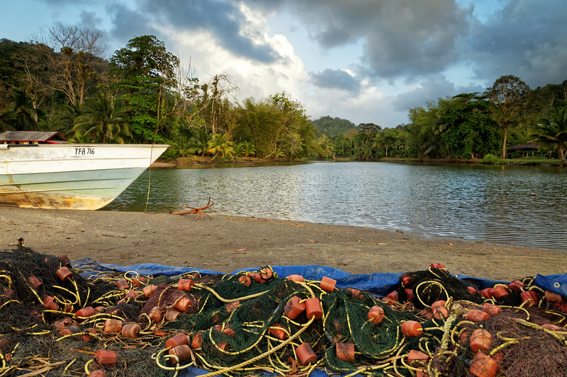 Fishing boats and nets at Grande Riviere