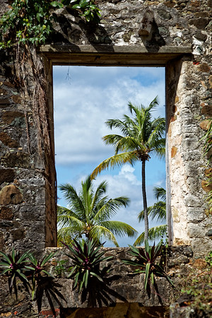 Window of sugar mill ruins at  Caneel Bay in St John, US Virgin Islands