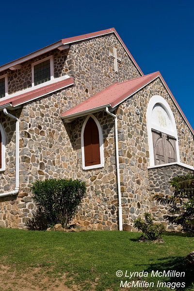 St. Joseph's Catholic Church.  Eglise Catholique de Quartier d'Orleans, on the French side of St. Martin which is a part of French West Indies.