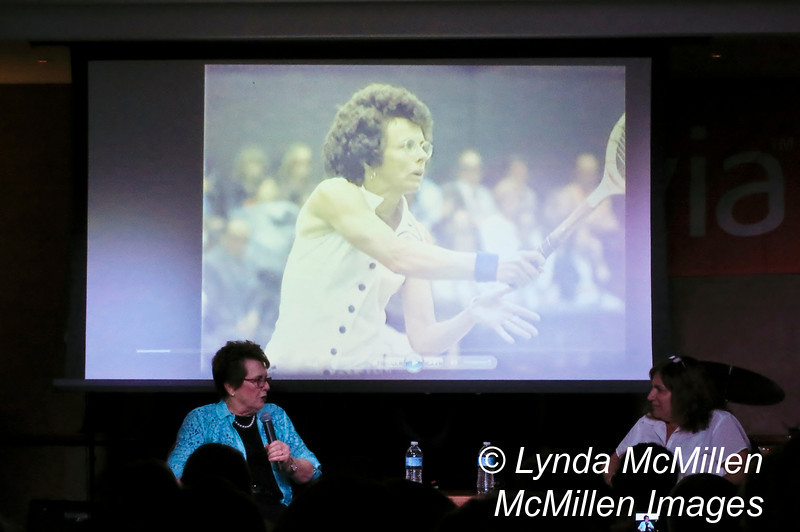 Billie Jean King being interviewed on board by Olivia founder Judy Dlugacz.