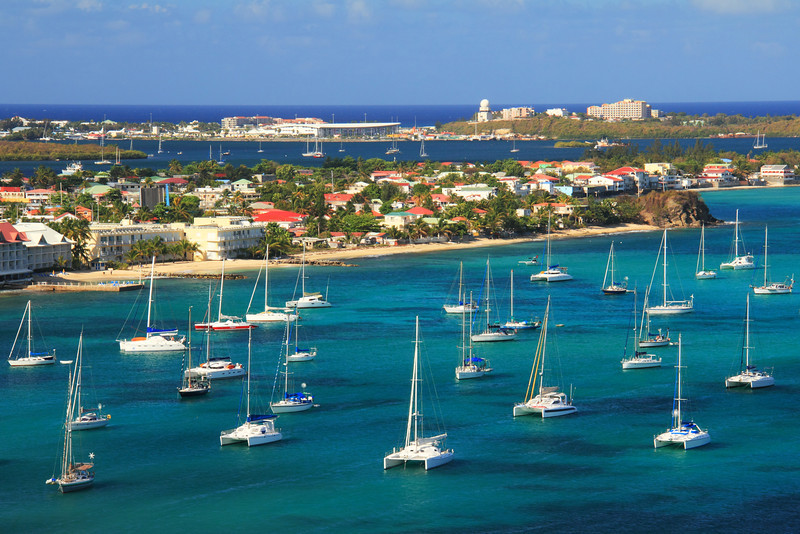 Sailboats and Harbor Waterfront, Marigot, St. Martin