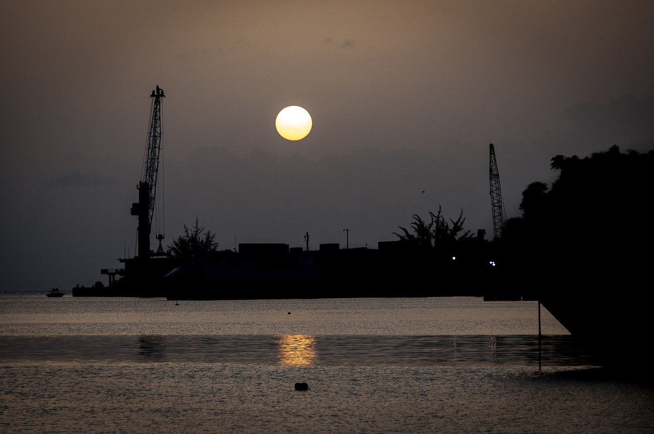 Full moon over port in Antigua and Barbuda