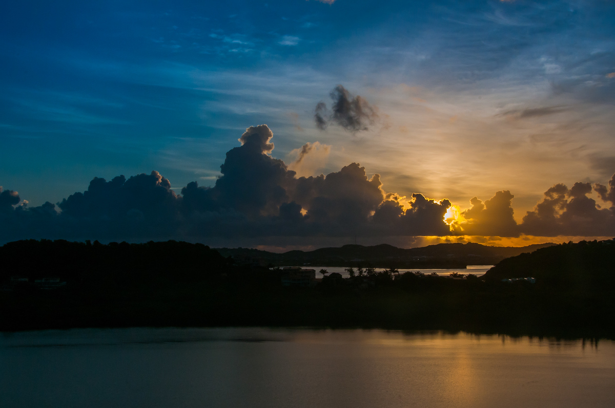 Sunrise over the island of Antigua