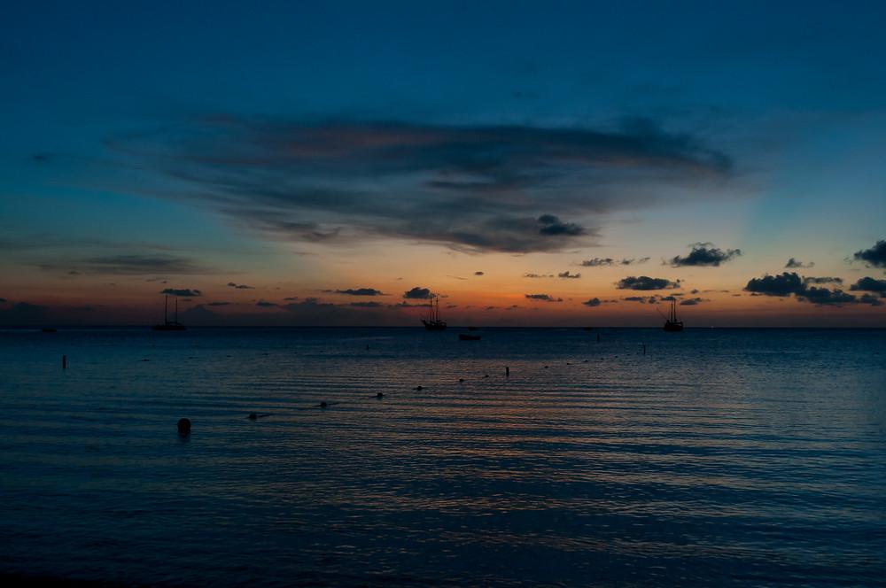 Sunset on the island of Aruba