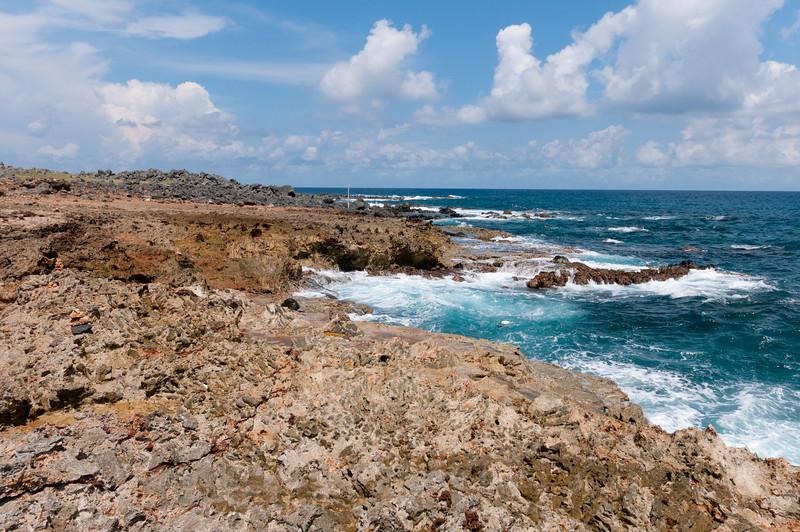Rocky coastline on the island of Aruba