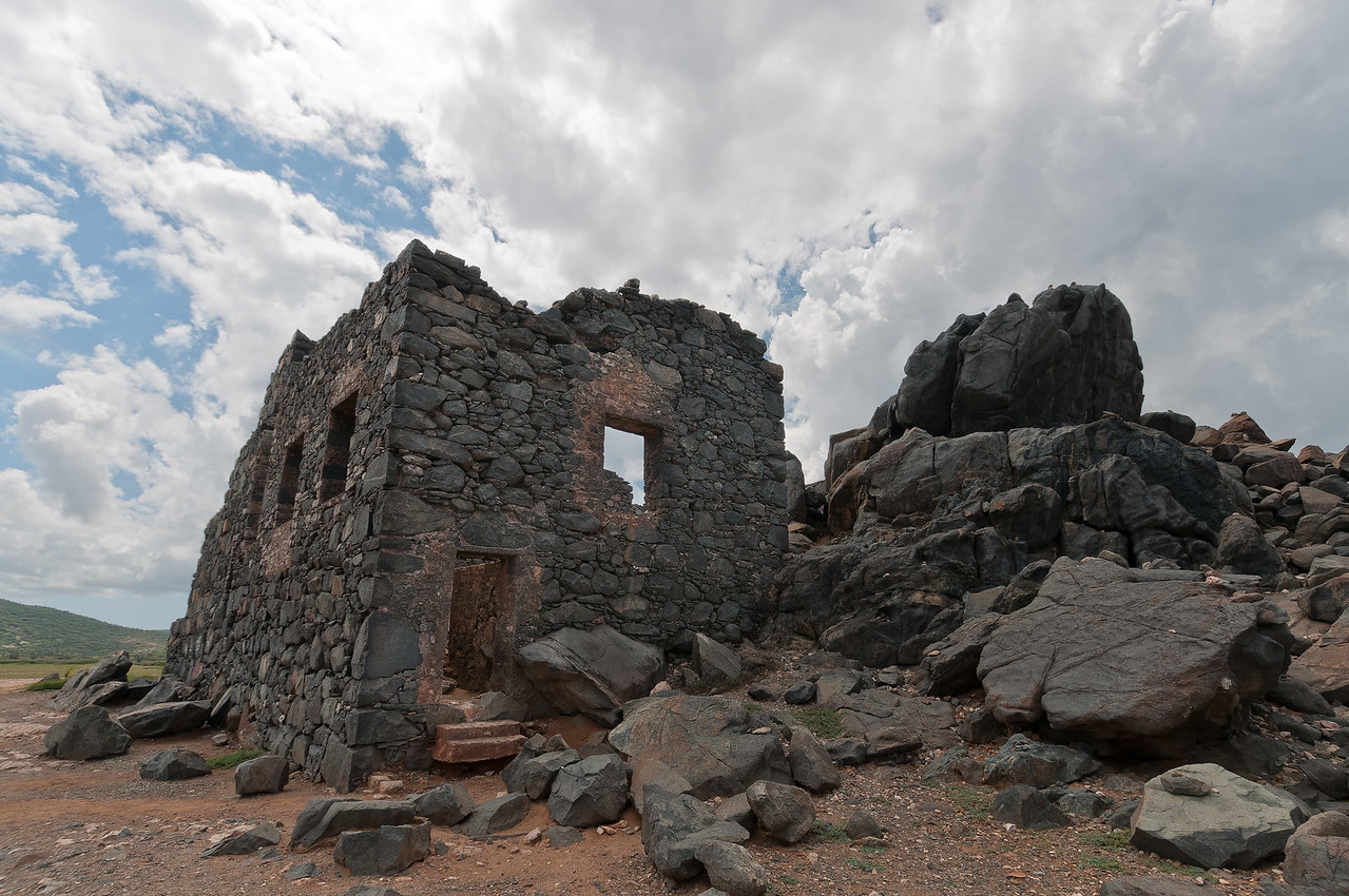 Ruins of a former gold milling operation in Aruba