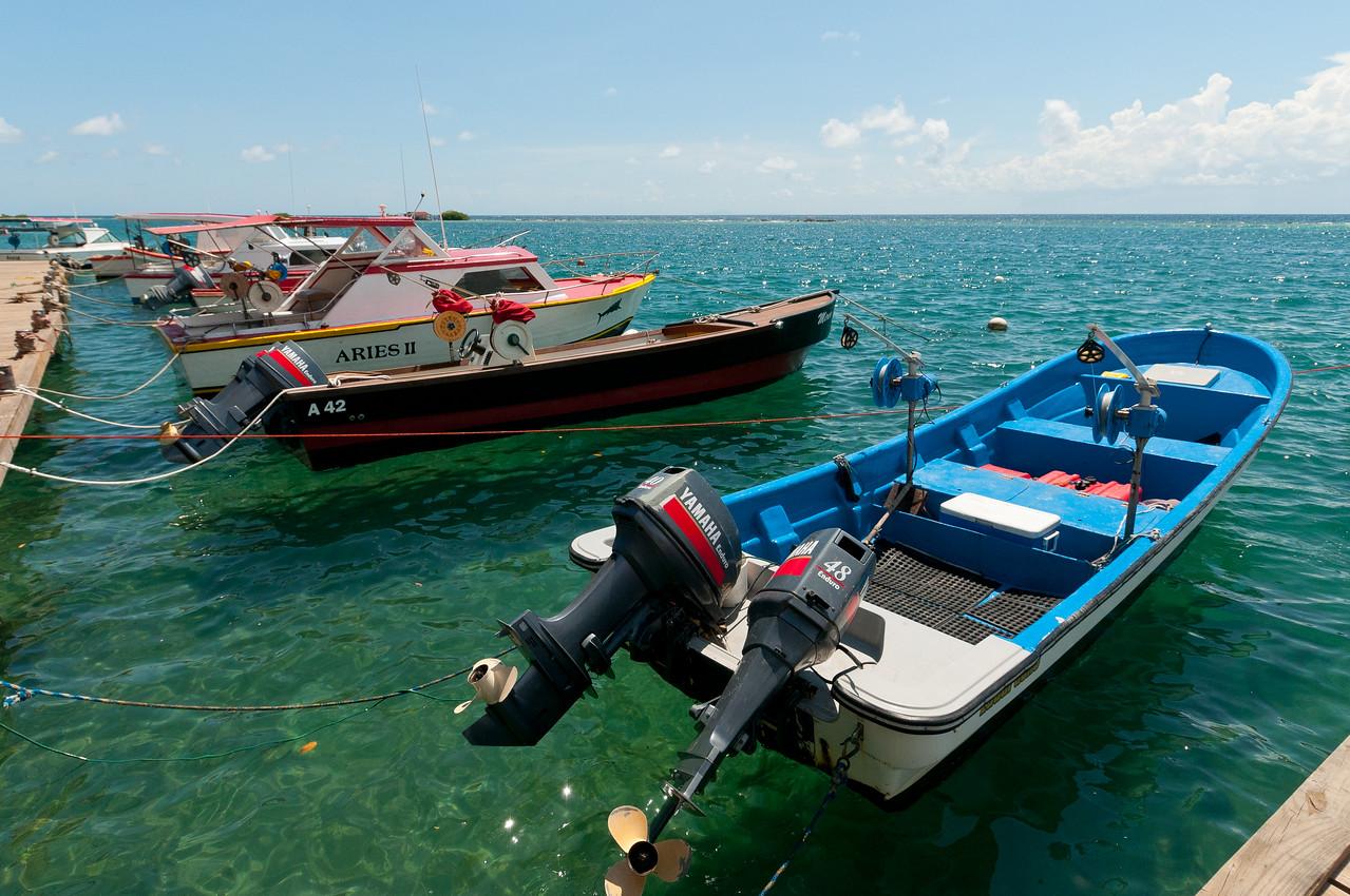 Speedboats on dock in Aruba