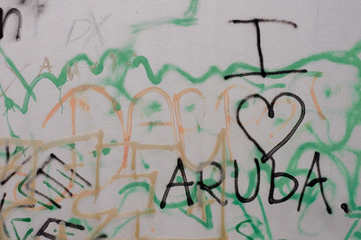 Vandalism spotted on a wall in Aruba
