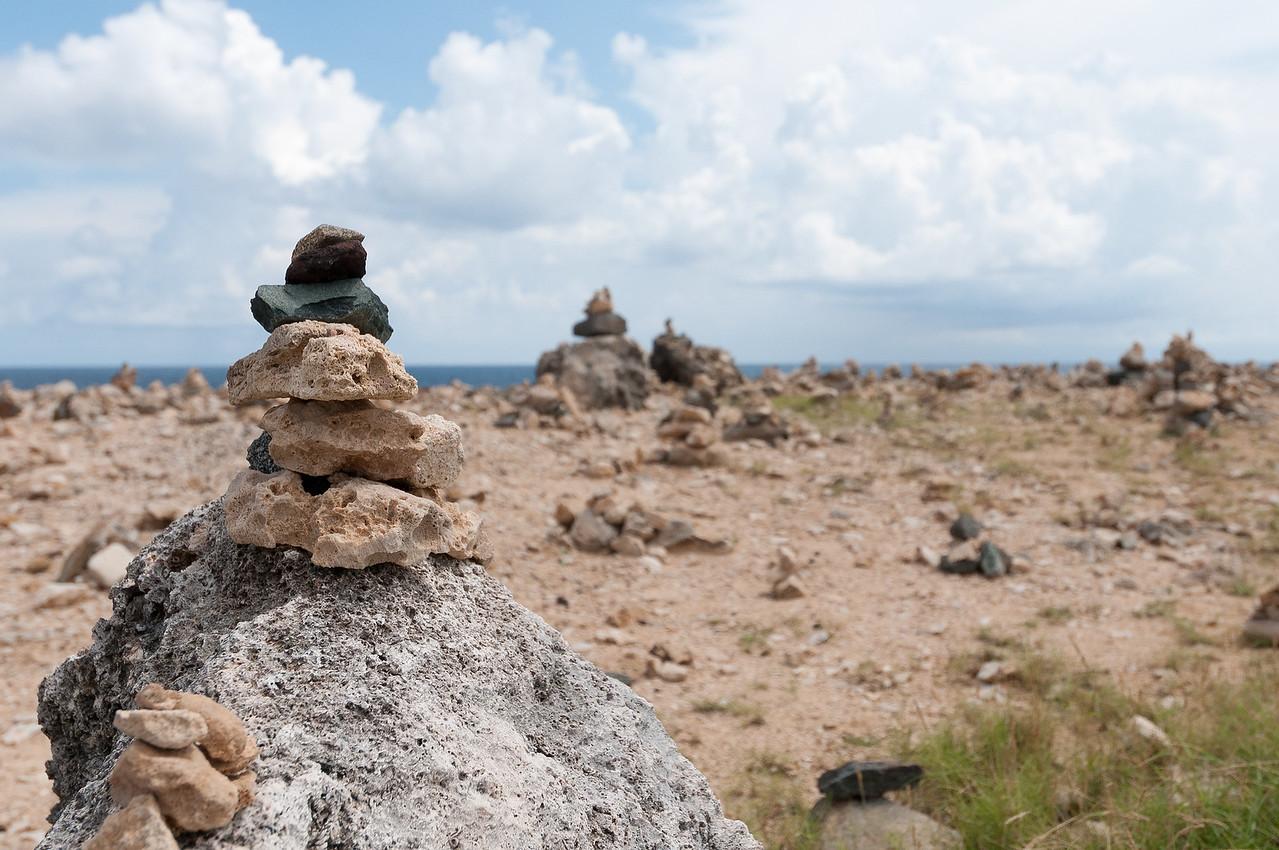 Stacked rocks on the island of Aruba