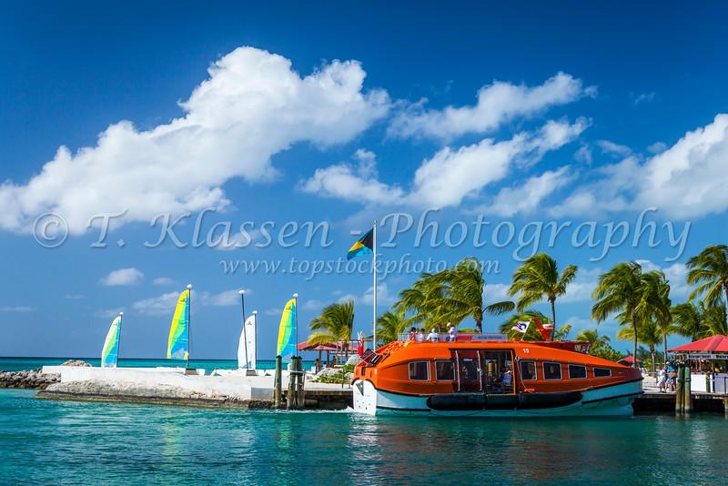 Regal Princess tender boats on Princess Cays, Bahamas.