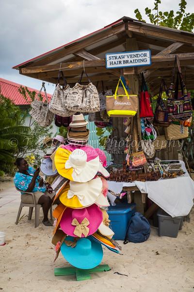 A souvenir hat store kiosk on Princess Cays, Bahamas.
