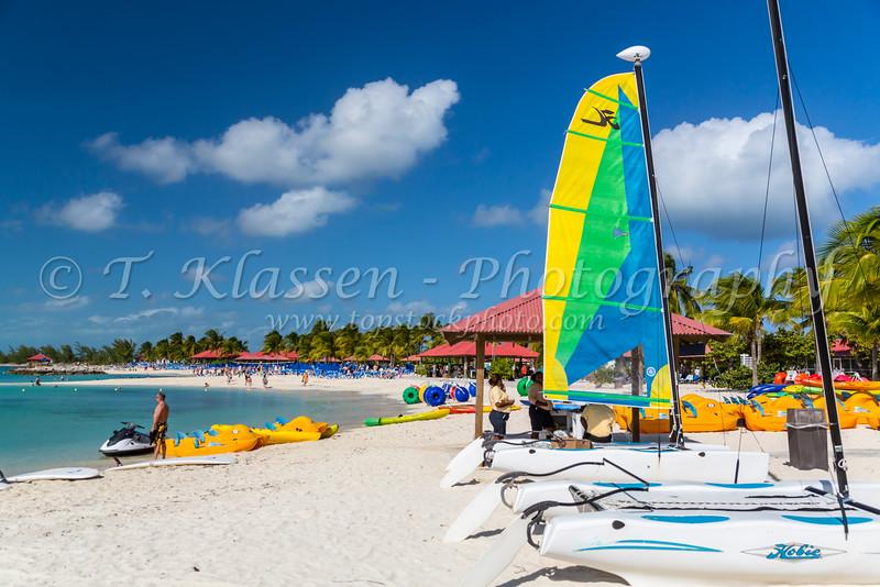 Colorful sailboats on Princess Cays, Bahamas.