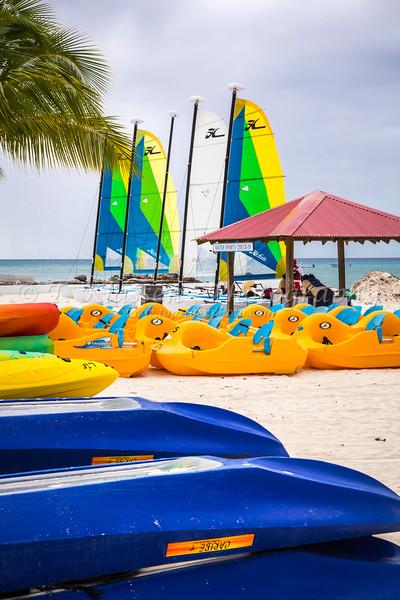 Colorful beach kayaks on Princess Cays, Bahamas.