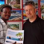 Michael with local artist Kovsky Cox