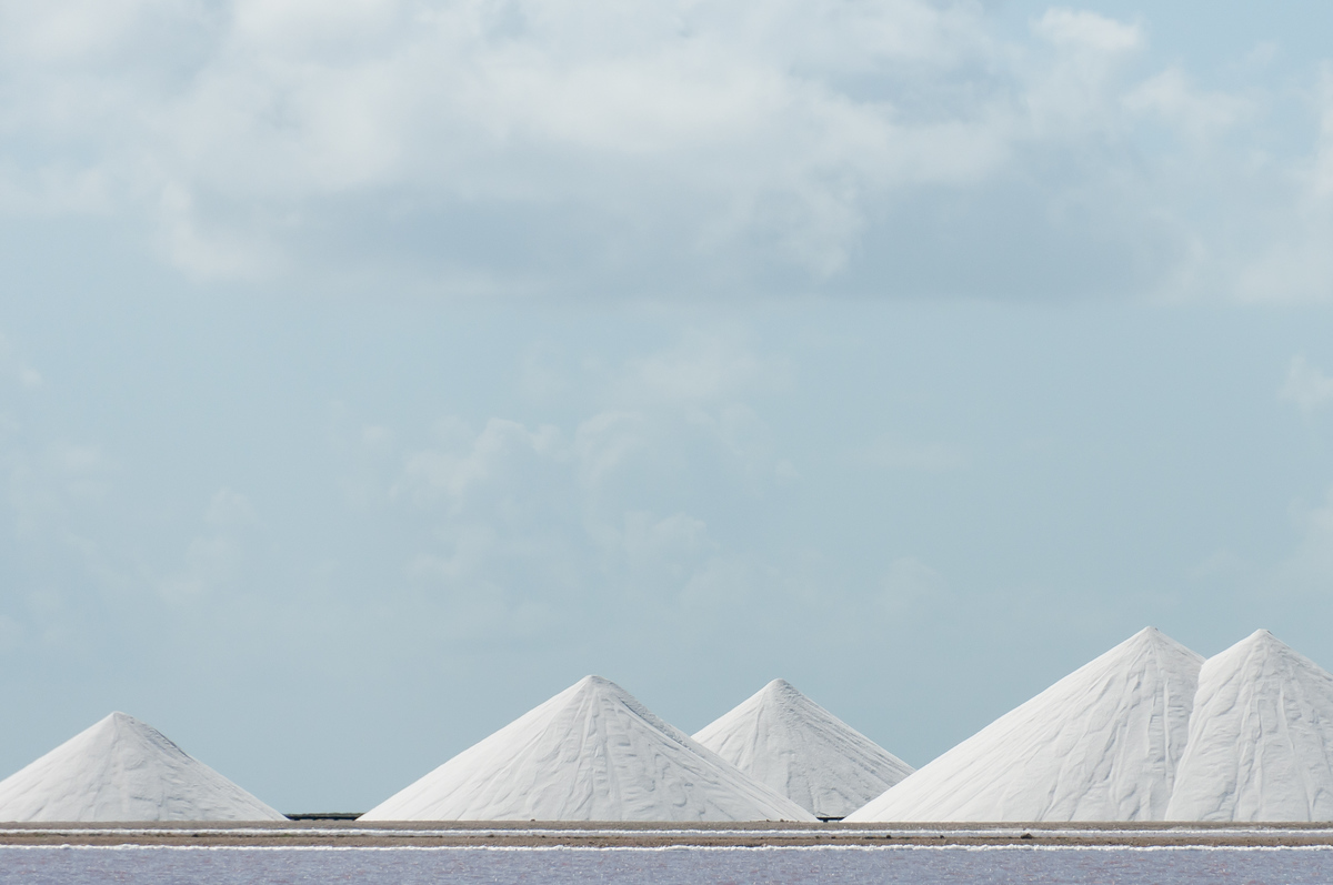 Salt evaporation piles in Bonaire