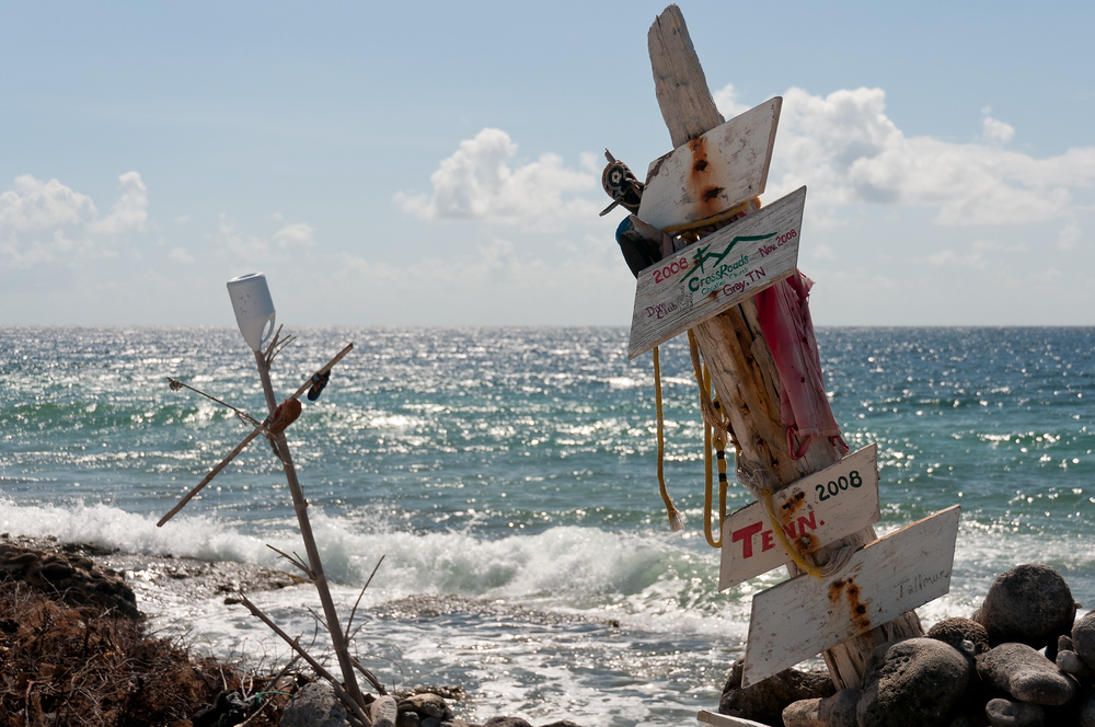 A makeshift sign on the beach in Bonaire