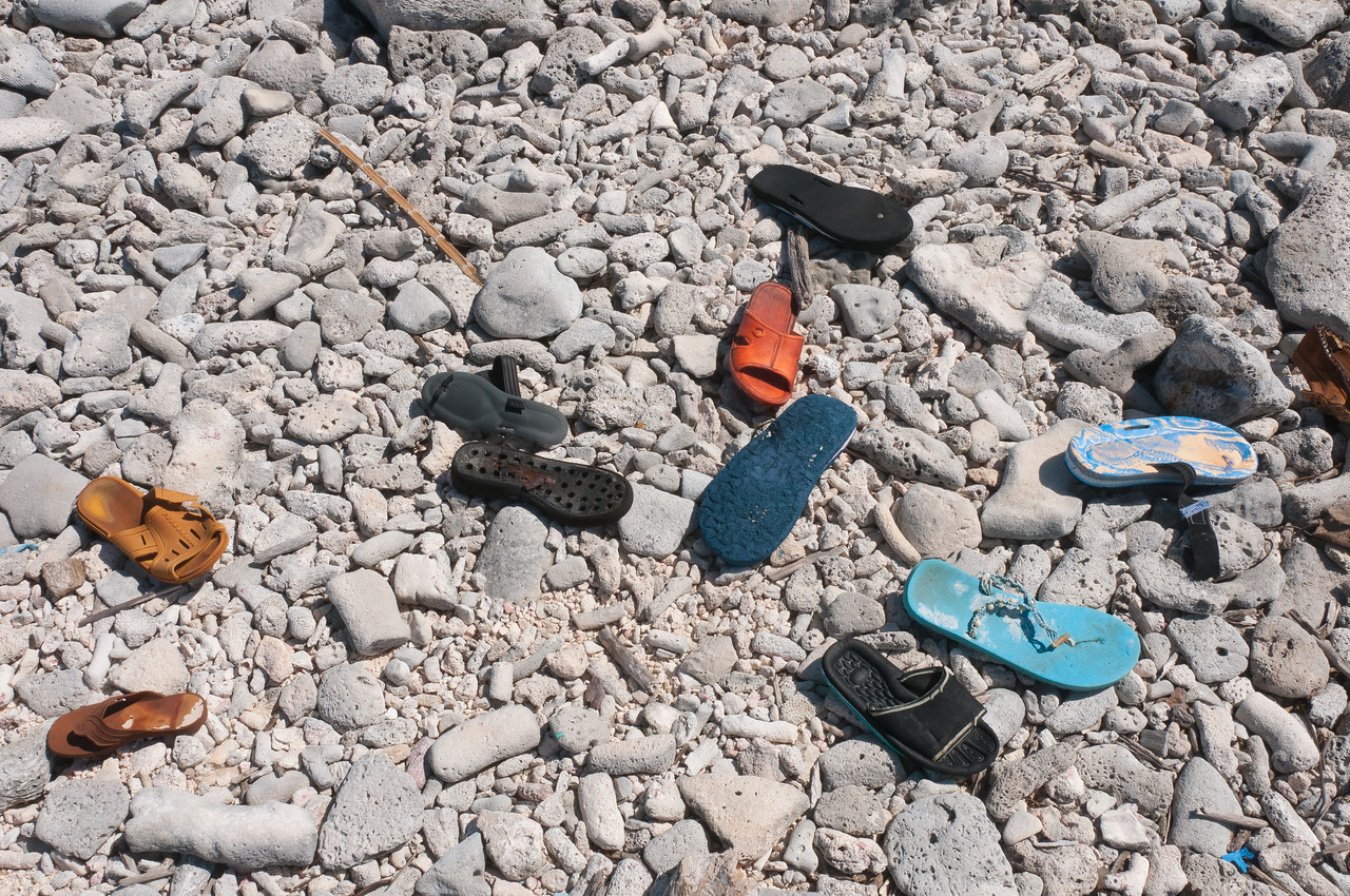 Slippers on the shore of Bonaire