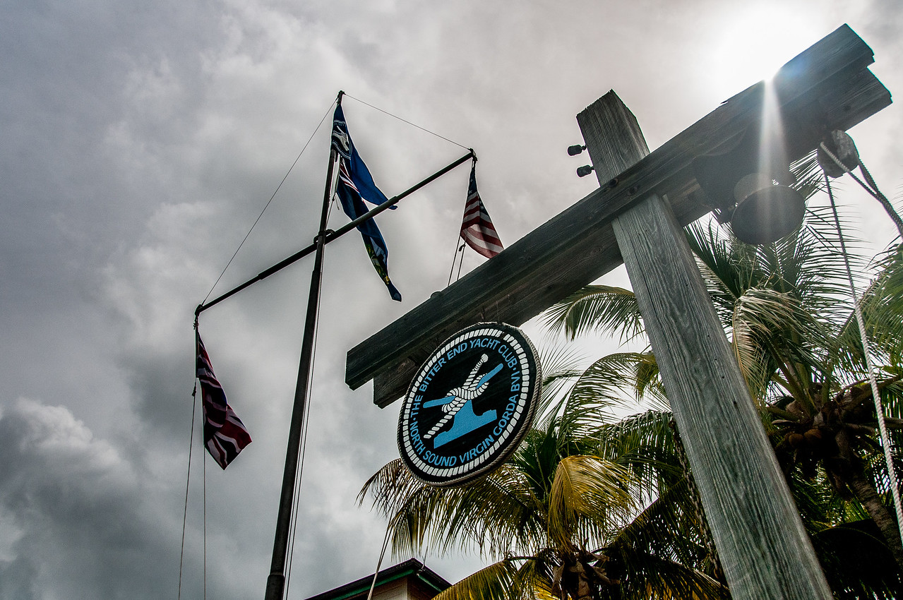 Sign and flag at the Bitter End Yacht Club - British Virgin Islands