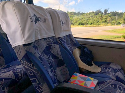 Spacious reclining seats on the Viazul Bus with large windows.