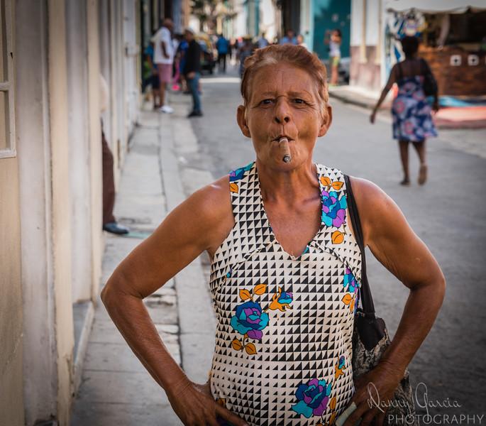 Cuban Woman Smoking Cigar in Havana