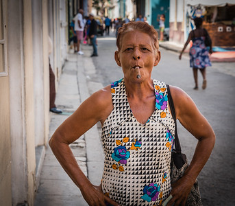 Cuban Woman Smoking Cigar in Havana