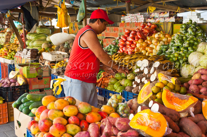 The fresh fruit market on the Punda side in Willemstad, Curacao, Caribbean.
