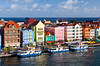 Colorful buildings along the waterfront in Willemstad, Curacao, Netherlands, Antilles.