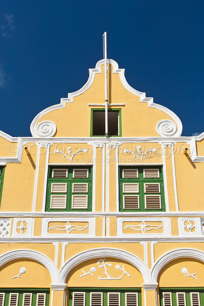 Dutch architecture of the buildings in Willemstad, Curacao, Netherlands Antilles.