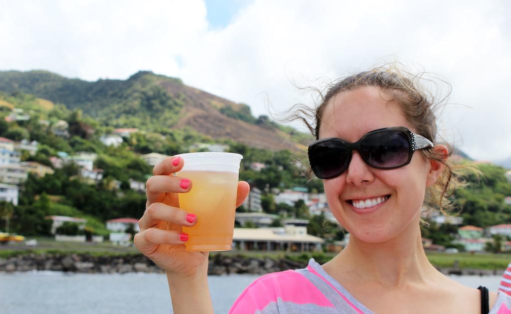 Lauren enjoying some rum punch in Dominica