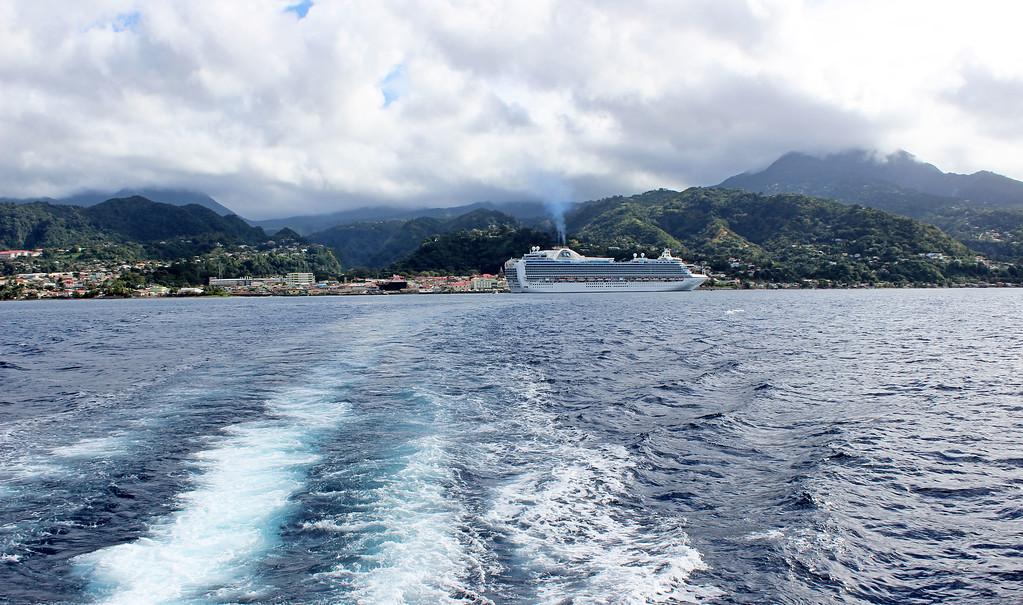 The Emerald Princess cruise ship in Dominica