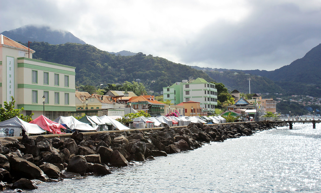 The city of Roseau, Dominica, overlooking the Caribbean Sea