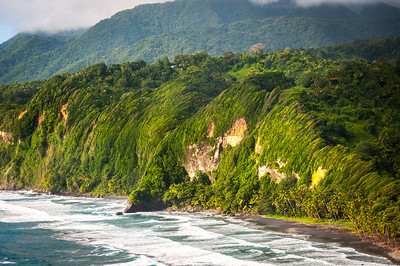 Mountain and beach on the island of Dominica