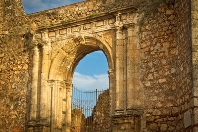 Plateresque gate at the ruins of the Monastery of San Francisco in Santo Domingo's Zona Colonial