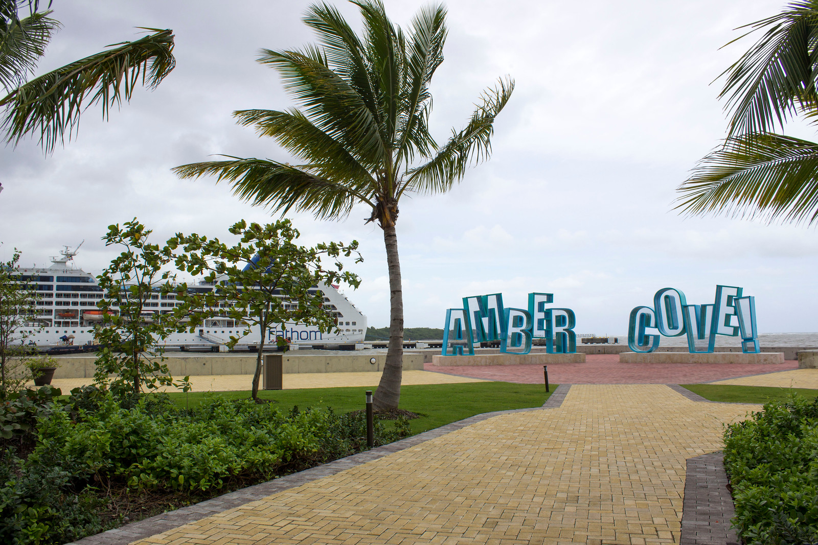 Amber Cove Dominican Republic Cruise Ship Port Guide - Amber Cove Sign by day