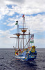 A Spanish Galleon tour boat off the coast of the Cayman Islands, Caribbean.