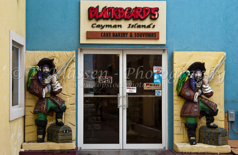 Figures of the pirate Blackbeard at a shop on the Grand Cayman Islands.