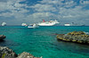 A cruise ship parking lot off the Cayman Islands in the Caribbean.