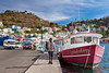 Colorful fishing boats in the harbor in St. George's, Grenada, West Indies.