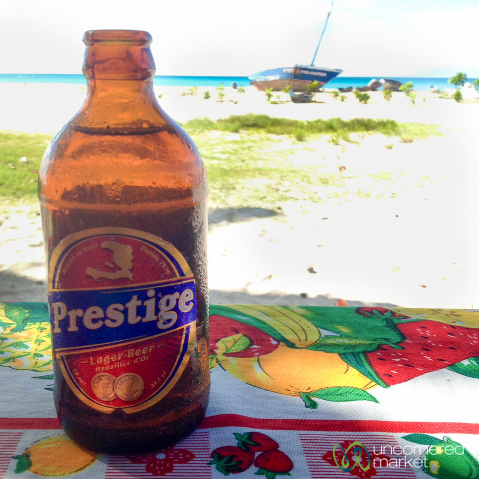 Prestige Beer on the Haitian Coast