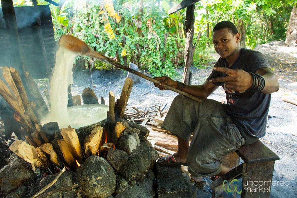 Turning Milk to Make Dous Makos - Petit-Goave, Haiti